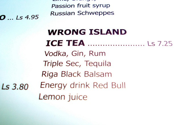 Riga Black Balsam Wrong Island Tea cocktail menu